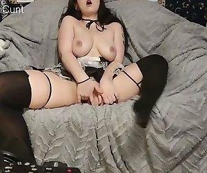 Slutty maid fucks herself..