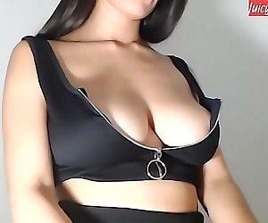 Pretty Asian girl teasing on..