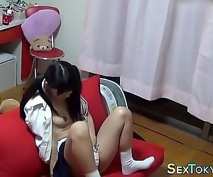 Uniformed teen asian solo 10..