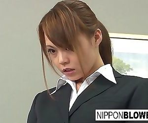 Sexy Asian office girl blows..