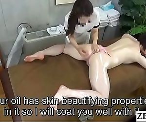 Pale Japanese milf prone oil..